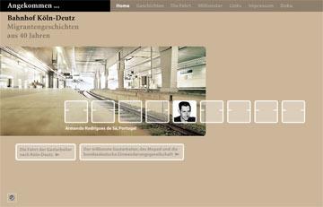 Screenshot des Projektes Angekommen Angekommen Bahnhof Deutz