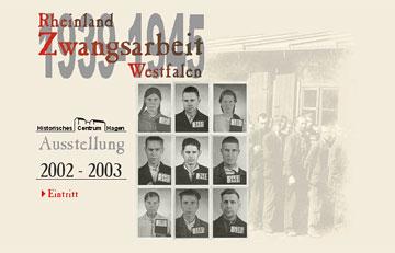 Screenshot des Projektes Zwangsarbeit in Rheinland und Westfalen